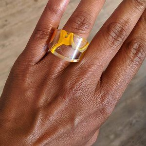 Wide Yellow & Orange Acrylic Ring